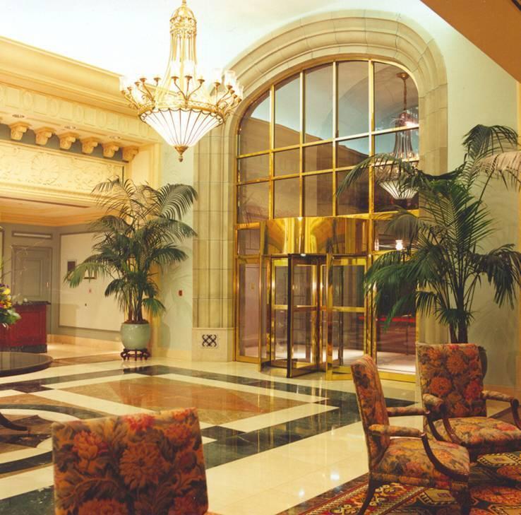 Brass Revolving Door Hotel Lobby